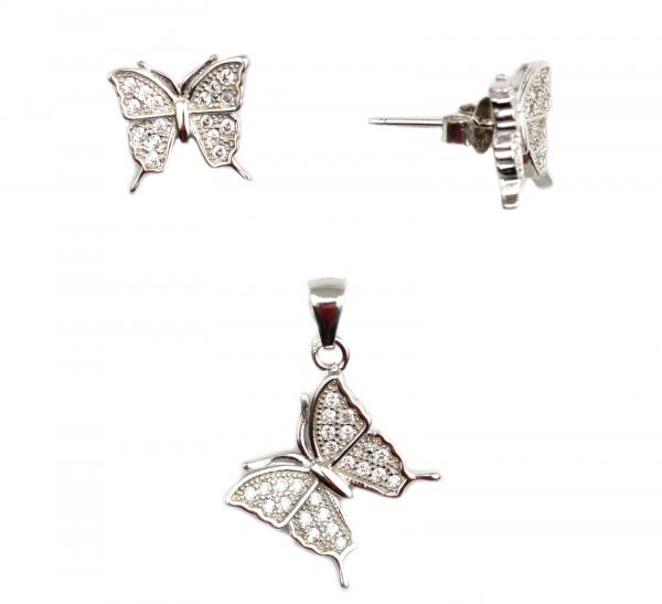 Set argint rodiat cu fluturi - DA68