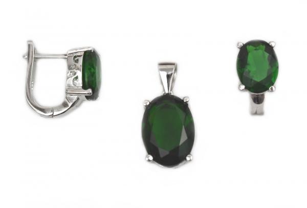 Set argint rodiat cu onix verde - DA160