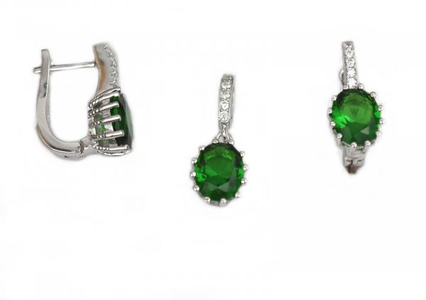 Set argint rodiat cu piatra verde semipretioasa - DA156