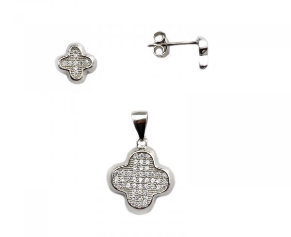 Set argint rodiat cu pietre - DA136