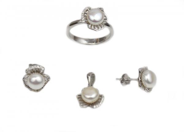 Set argint rodiat cu zirconiu si perle - DA214.