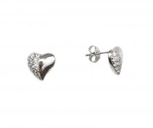 Cercei argint rodiat inimioare cu zirconiu - DA133