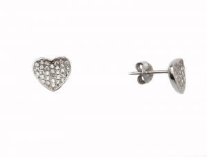 Cercei argint rodiat inimioare - DA127