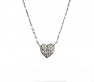 Colier argint rodiat inimioara - DA124