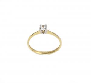 Inel de logodna aur galben si alb cu zirconiu - DA169
