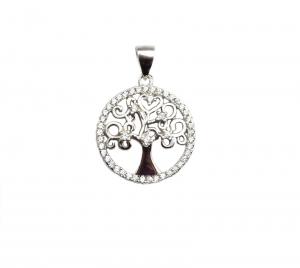 Pandant argint arborele vietii cu zirconiu - DA105