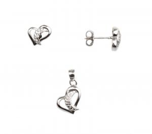 Set argint rodiat inimioare - DA97