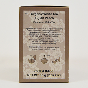 White Tea Fujian Peach, ceai organic Julius Meinl, Big Bags