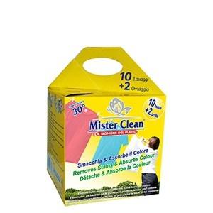 Indepartare pete & captare culoare, aditiv spalare Mister Clean, 12 buc