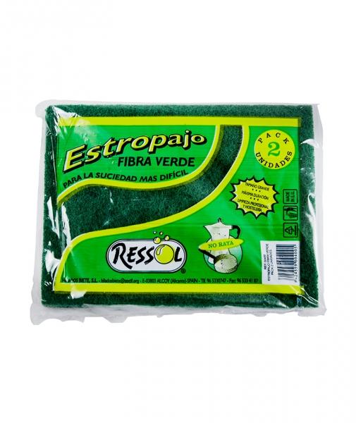 Laveta fibra abraziva verde, 2 buc/pach