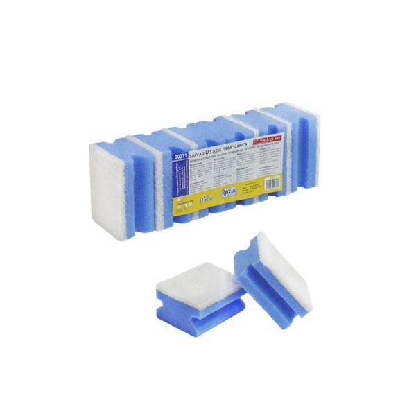 Burete canelat albastru fibra abraziva non-scratch, 6 buc/set