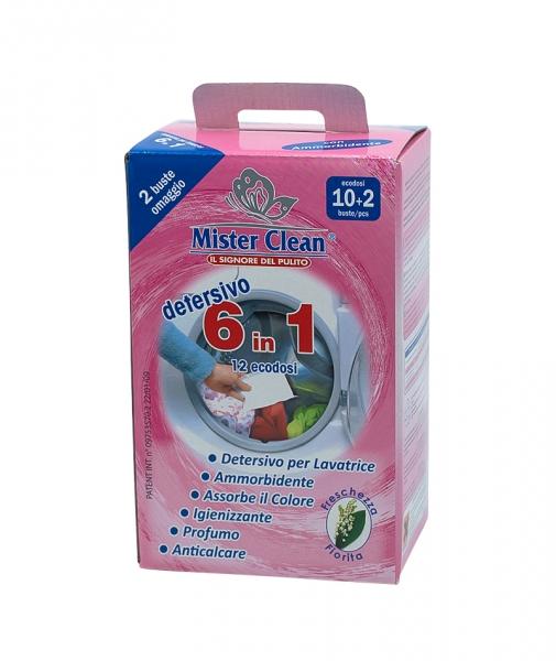 Aditiv spalare si captare culoare cu balsam 6 in 1 pentru rufe Mister Clean, 12 Buc