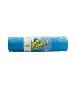 Saci menaj 120 L, 10 buc, albastri, cu snur, super rezistenti, LDPE