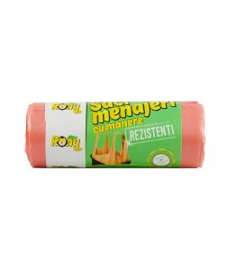 Saci menaj 35 L, 15 buc, portocalii, cu manere  rezistenti, HDPE