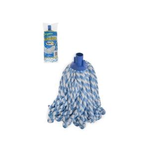 Mop microfibra bicolor, fir gros rasucit, albastru