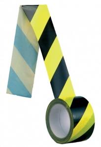 Banda delimitare adeziva, galben-negru, 100 m lungime