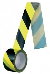 Banda delimitare adeziva, galben-negru, 66 m lungime