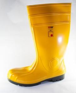 Cizme protectie PVC, galben/kaki, bombeu metalic si lamela antiperforatie