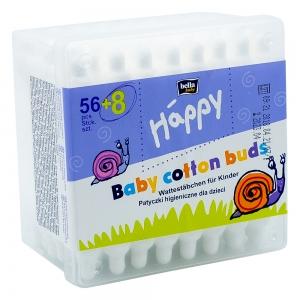Betisoare urechi cu opritor Happy Bella Baby, cutie 56 + 8 buc