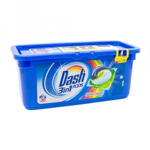 Detergent rufe capsule Dash 3 in 1, Salva Colore, 30 spalari