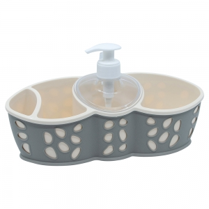 Dispenser detergent vase si suport bureti, gri, Rock