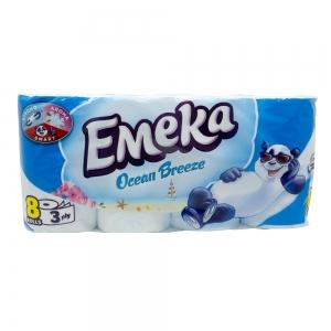 Hartie igienica Emeka, 3 straturi, 8 role, Ocean Breeze