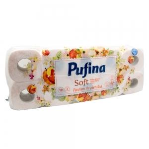 Hartie igienica Pufina Soft, Piersica, 2 straturi, 10 role