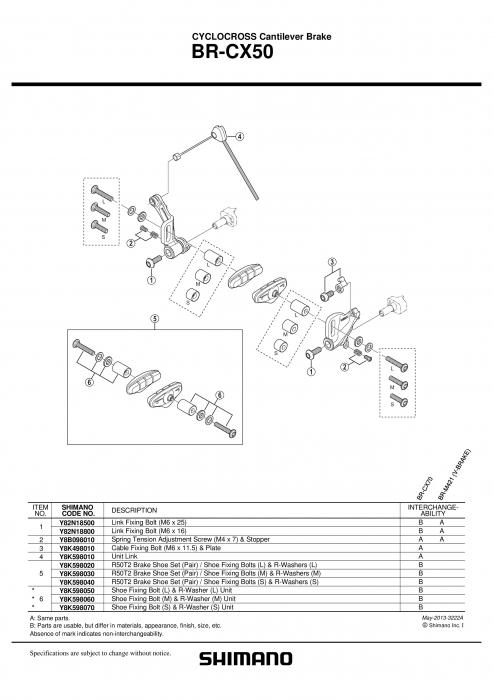 Saboti frana Shimano BR-CX50