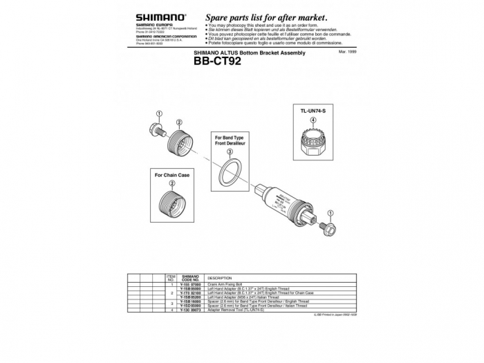 Butuc pedalier Shimano BB-CT92E 116 mm