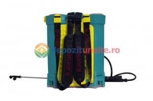 Pompa de stropit electrica PANDORA 12L, vermorel electric cu acumulator de 12V 8Ah 5,5 bar si regulator de presiune
