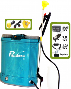 Pompa stropit electrica Pandora 16 Litri 5.5 Bar, Model 2019 + regulator presiune, Vermorel electric cu baterie - acumulator 12V 8Ah