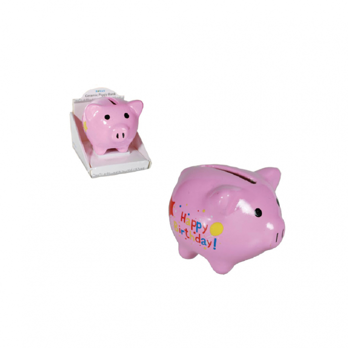 Pusculita mini porc Happy Birthday