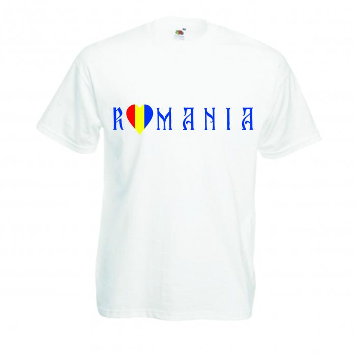 "Tricou imprimat ""I love Romania"" inima"