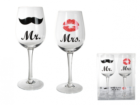 Set 2 pahare vin moustache