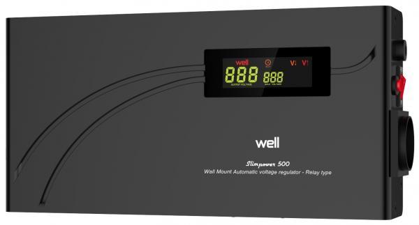 Stabilizator automat de tensiune cu releu Well 500VA/300W AVR-REL-SLIMPOWER500-WL-big