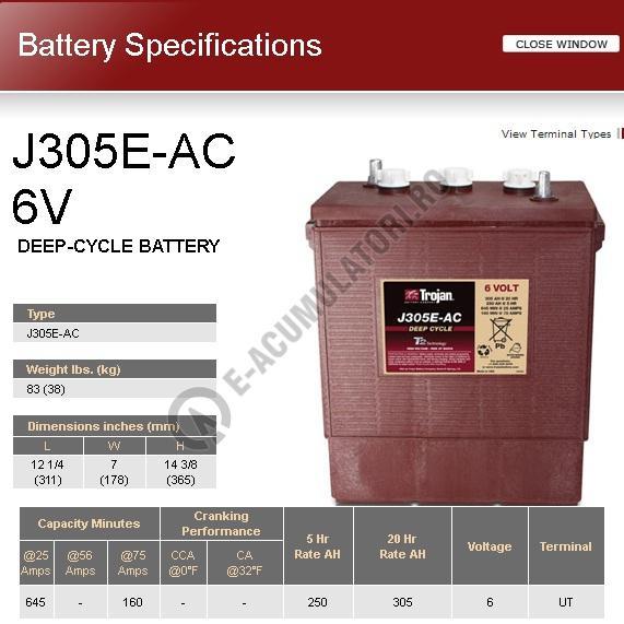 Acumulator TRACTIUNE TROJAN J305E-AC DEEP CYCLE 6V 305 Ah-big