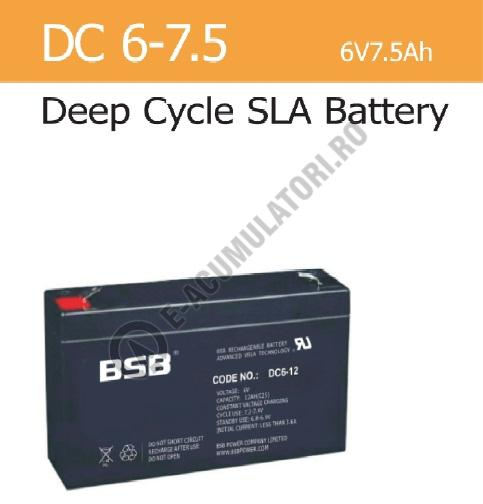 Acumulator VRLA BSB 6 V 7,5 Ah cod DC6-7,5-big