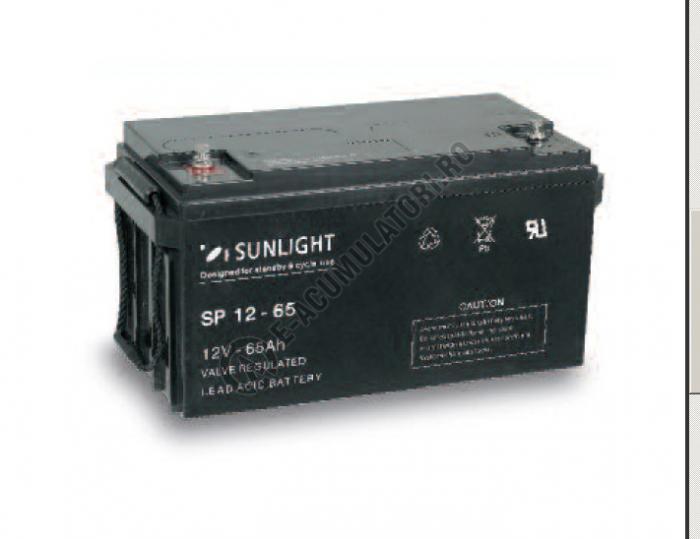 Acumulator VRLA SUNLIGHT 12V 65 Ah cod SPB 12-65-big