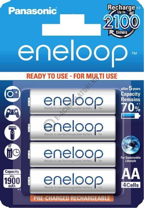 Acumulatori Panasonic Eneloop AA 1900mAh 2100 CICLURI preincarcati, blister 4 bucati BK-3MCCE/4BE-big