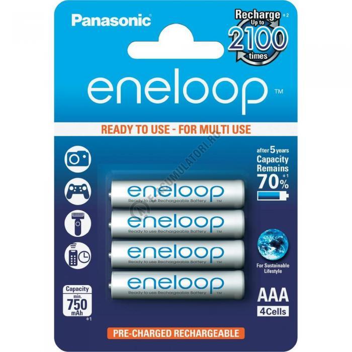 Acumulatori Panasonic Eneloop AAA 750 mAh, 2100 cicluri incarcare blister 4 buc BK-4MCCE/4BE-big
