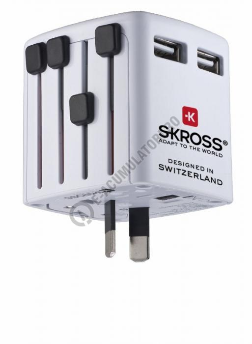 Adaptor WORLD USB CHARGER dual port SKROSS cod 1.302300-big