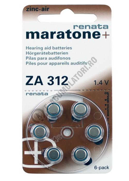 Baterie acustica RENATA ZA 312 blister, 6 buc-big