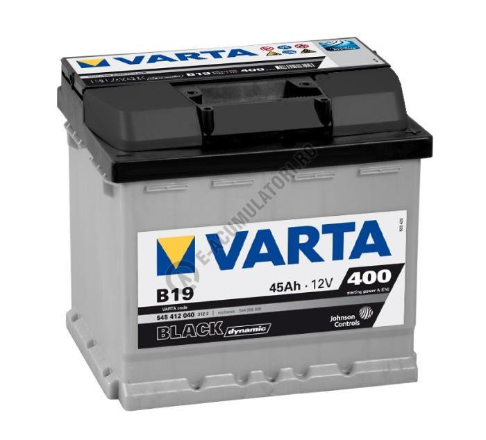 BATERIE AUTO VARTA BLACK 45 Ah cod B19 - 5454120403122 LOGAN BENZINA-big