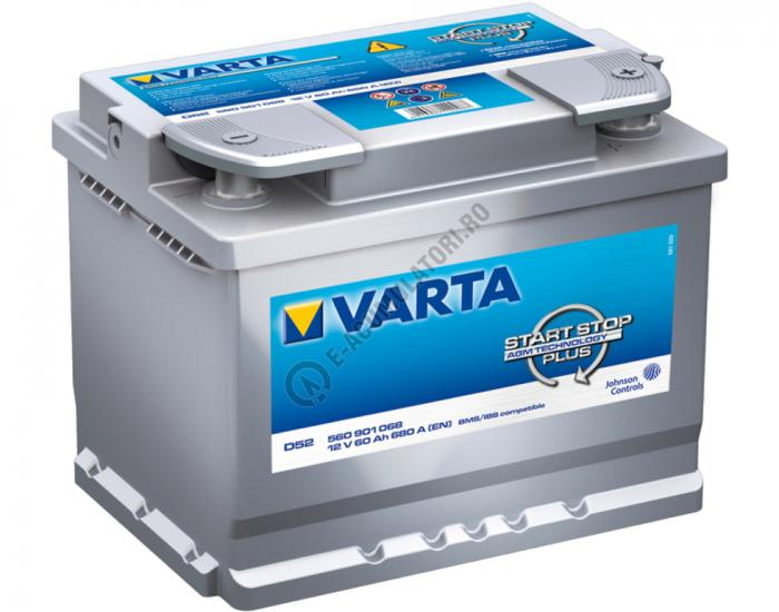 BATERIE AUTO VARTA Start Stop AGM 60 Ah cod D52 560901068 D852-big
