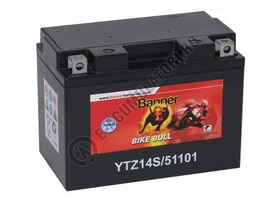Baterie MOTO BANNER BIKE BULL AGM+SLA borne inverse 12V 11 Ah YTZ14S cod 511 01-big