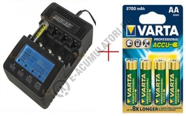 Incarcator inteligent R6 R3 Maha Powerex MH-C9000 cu 4 acumulatori Varta R2U AA 2600 mAh-big