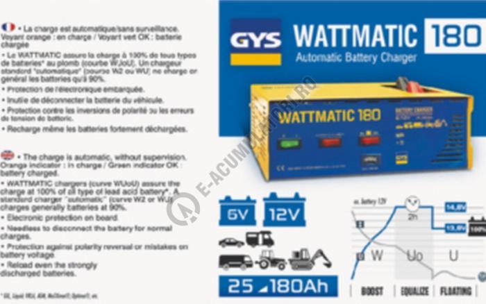 Incarcator si redresor PROFESIONAL automat 6/12V GYS WATTMATIC 180-big