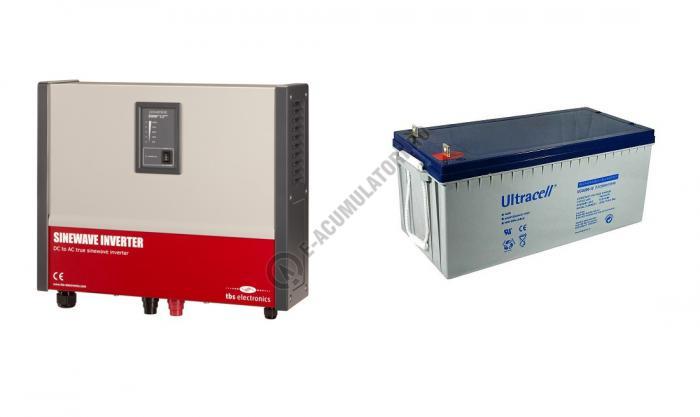 Invertor profesional TBS POWERSINE 2000-12 pur sinus DC/AC si Acumulator VRLA Ultracell 12V cu GEL, 200Ah UCG200-12-big