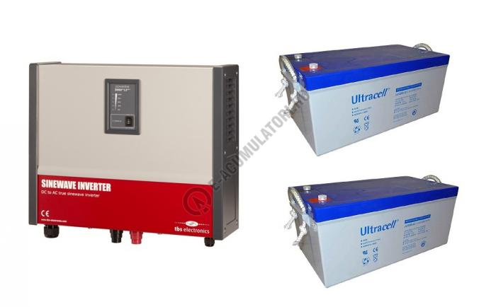 Invertor profesional TBS POWERSINE 2500-24 pur sinus DC/AC si doi acumulatori VRLA Ultracell cu GEL 12V, 250Ah UCG250-12-big