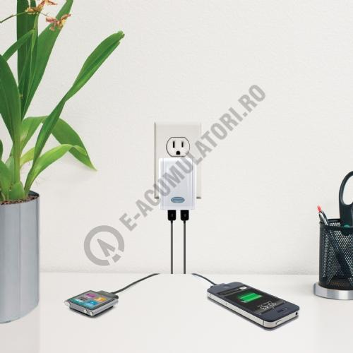 Lenmar AC to USB Wall Charger with 2 USB Ports, White Color-big
